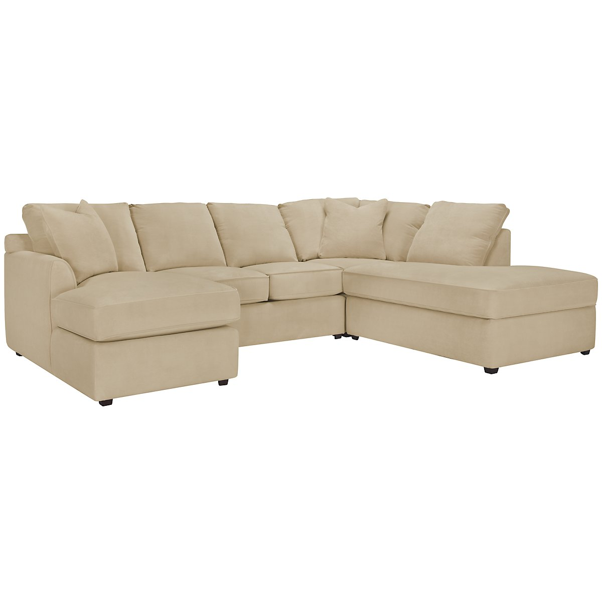 Express3 Light Beige Microfiber Small Right Bumper Sectional