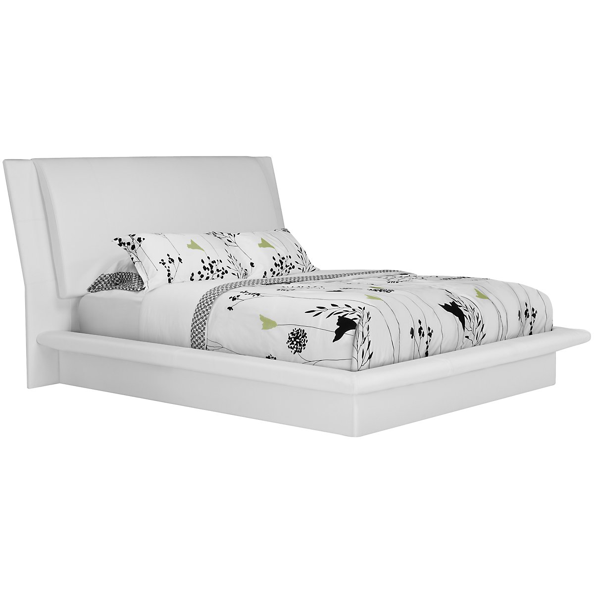 dimora white upholstered platform bedroom - White Platform Bed Frame