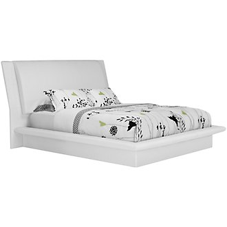 Dimora White Upholstered Platform Bed