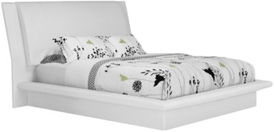 Attractive Dimora White Upholstered Platform Bedroom