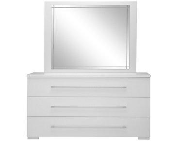 Dimora White Dresser & Mirror