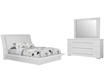Dimora White Upholstered Platform Bedroom