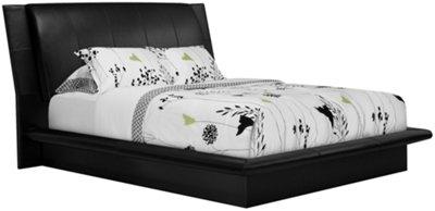 Black Platform Bed Part - 35: Dimora Black Upholstered Platform Bed