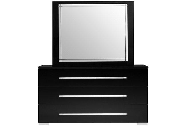 Dimora Black Wood Dresser & Mirror