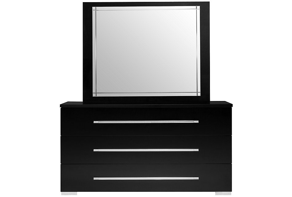 Dimora Black Wood Dresser & Mirror | Bedroom - Dressers ...