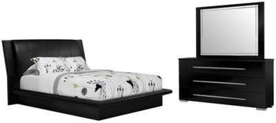 Dimora Black Upholstered Platform Bedroom