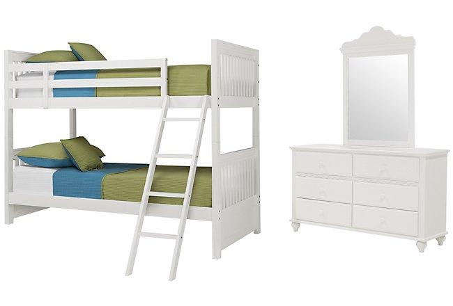 Lauren White Wood Bunk Bed Bedroom