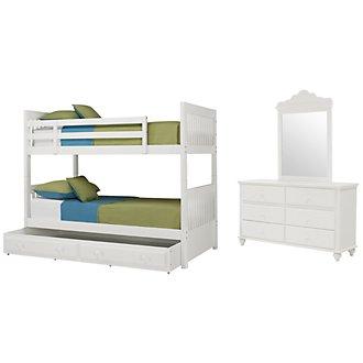 Lauren White Bunk Bed Trundle Bedroom