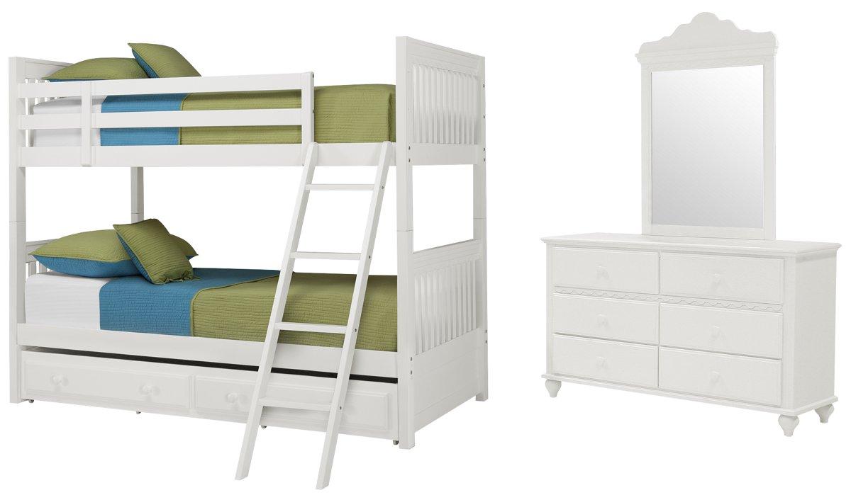 Lauren White Wood Bunk Bed Trundle Bedroom