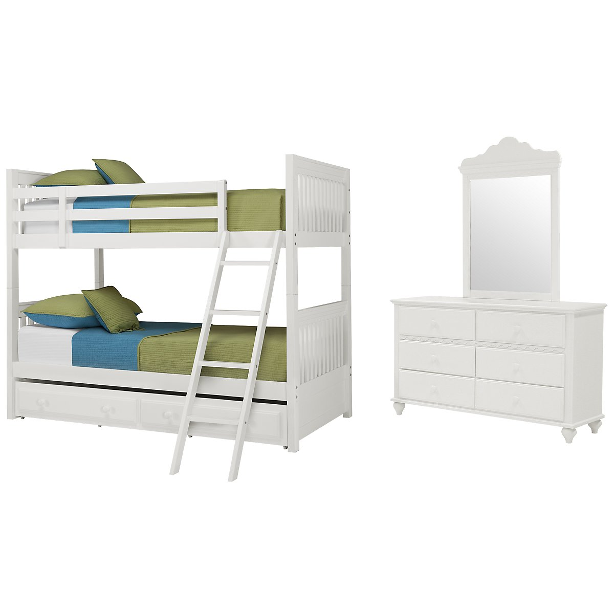 Lauren White Wood Bunk Bed Trundle Bedroom