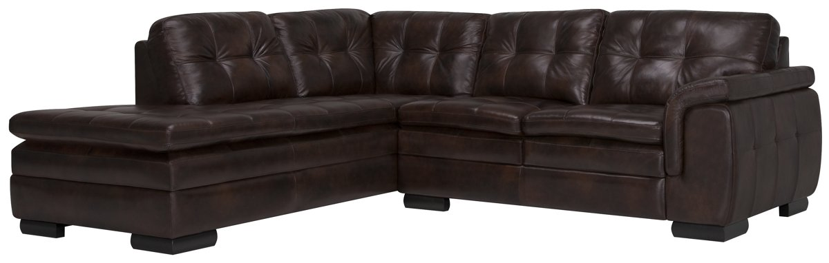 trevor dk brown leather sm left chaise sect
