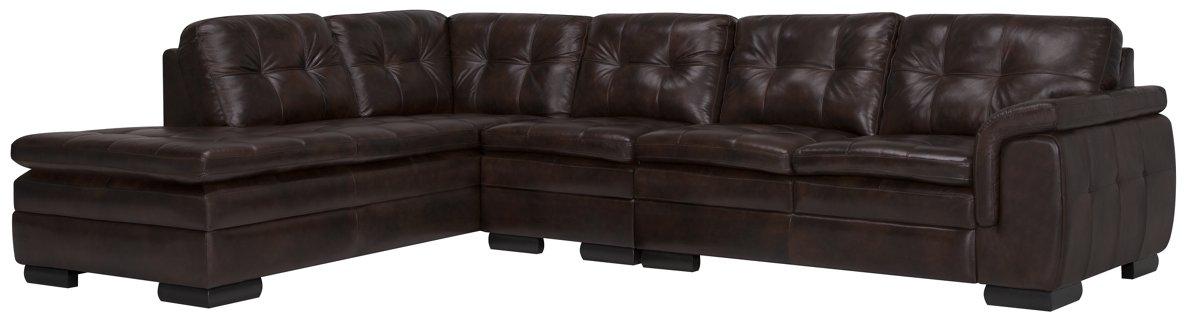 Trevor Dark Brown Leather Large Left Bumper Sectional