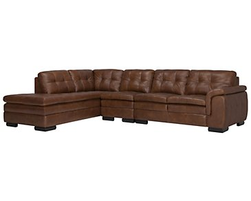 Trevor Medium Brown Leather Large Left Bumper Sectional