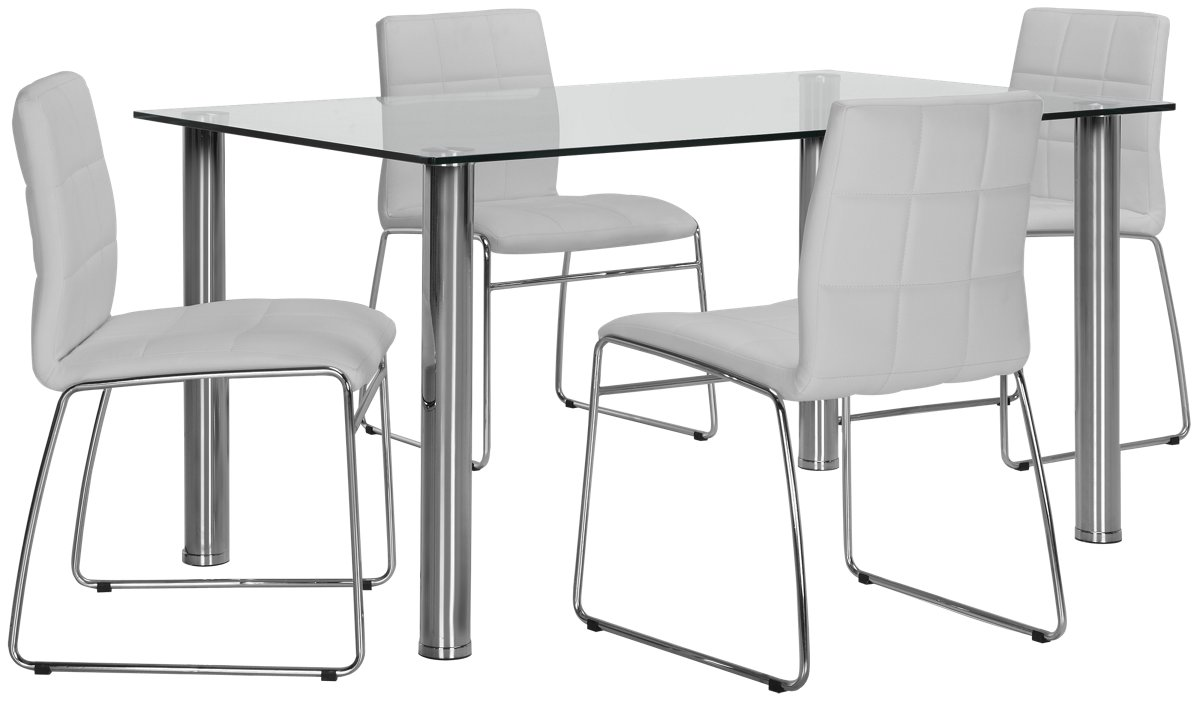Napoli White Rect Table & 4 Upholstered Chairs