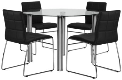 Napoli Black Round Table 4 Chairs
