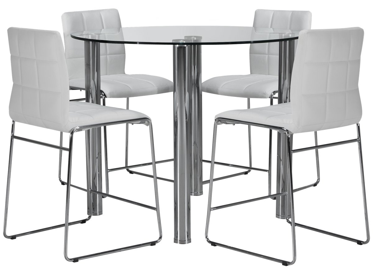 Napoli White Round High Table & 4 Upholstered Barstools
