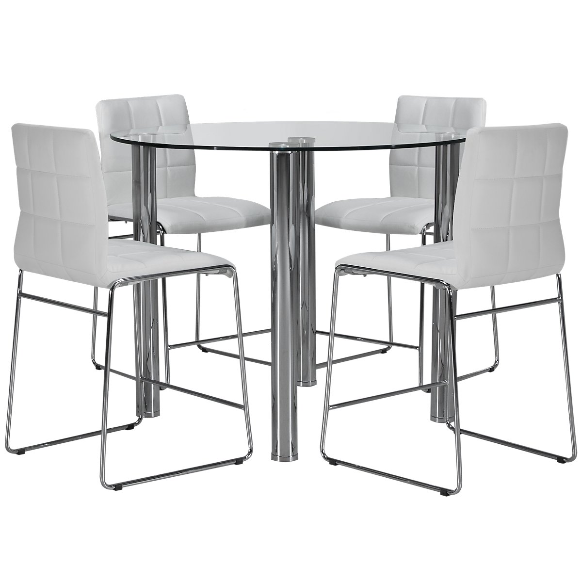 Napoli White Glass High Table & 4 Upholstered Barstools