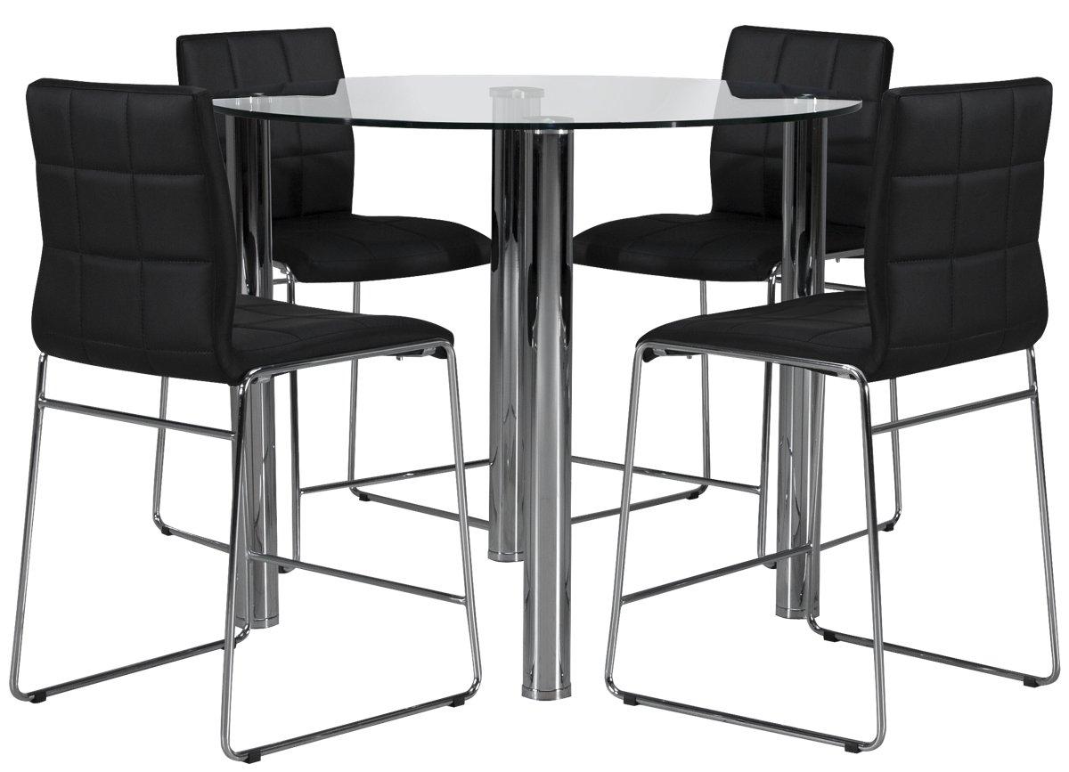 Napoli Black Round High Table & 4 Upholstered Barstools