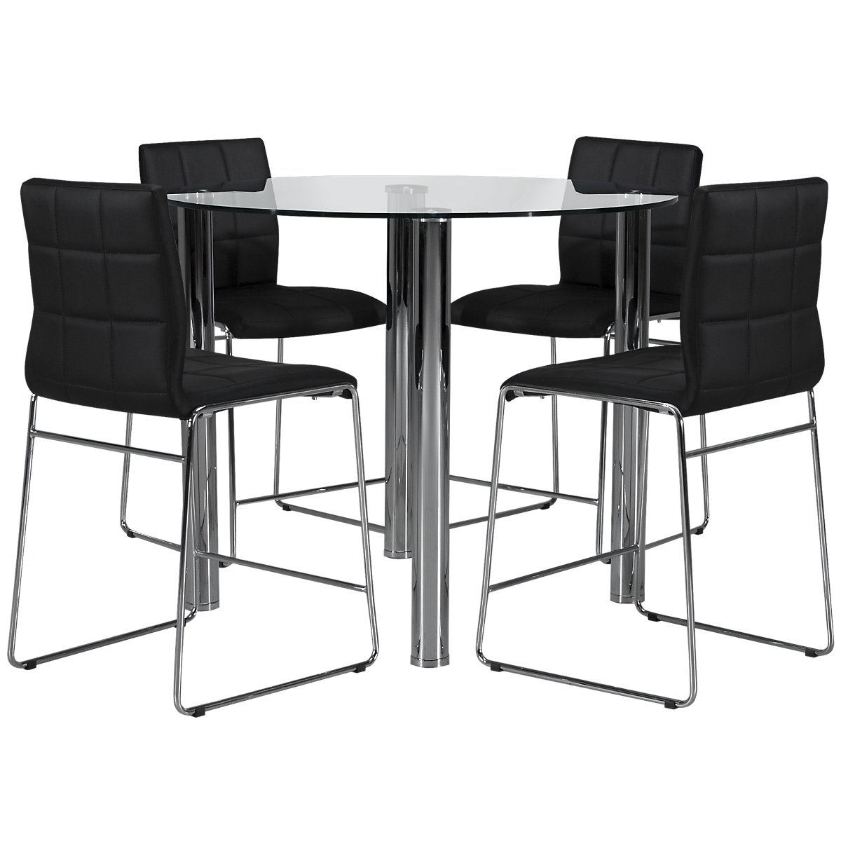 Napoli Black Round High Table & 4 Upholstered Barstools
