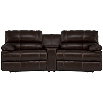 Alton2 Dark Brown Leather & Vinyl Small Power Reclining Home Theater Sectional