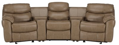 derek dark taupe leather u0026 vinyl small manually reclining home theater sectional
