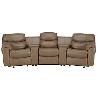 Derek Dark Taupe Leather & Vinyl Small Power Reclining Home Theater Sectional