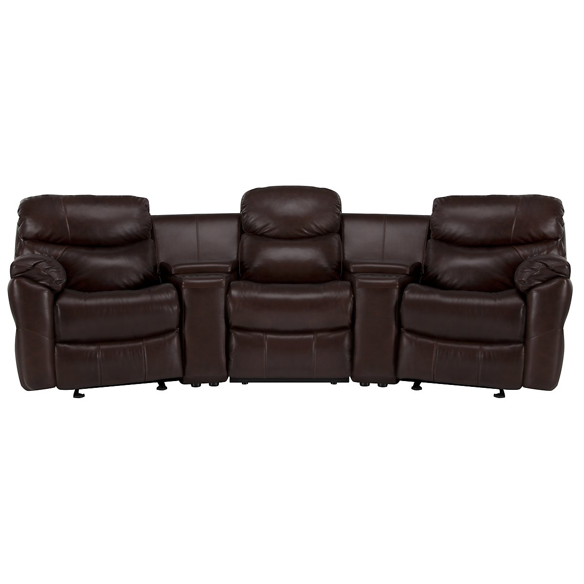 Derek Dark Brown Leather & Vinyl Small Manually Reclining Home Theater Sectional