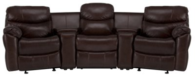 derek dark brown leather u0026 vinyl small manually reclining home theater sectional
