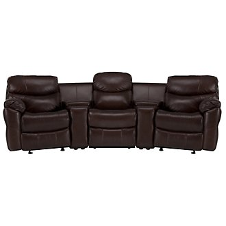 Derek Dark Brown Leather & Vinyl Small Power Reclining Home Theater Sectional
