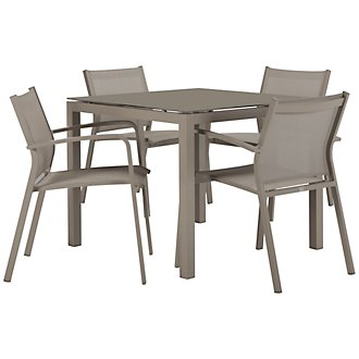 "Lisbon Khaki 36"" Square Table & 4 Chairs"