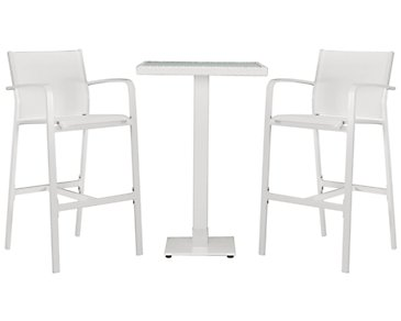 Lisbon White Square Pub Table & 2 Barstools