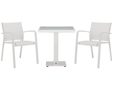 "Lisbon White 27"" Square Table & 2 Chairs"