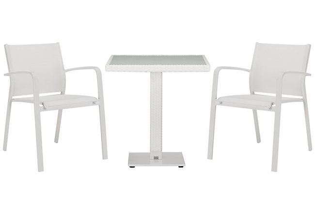 """Lisbon White 27"""" Square Table & 2 Chairs"""