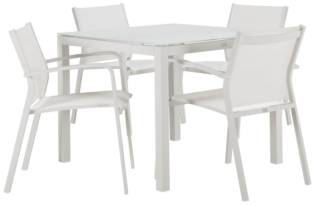 """Lisbon White 36"""" Square Table & 4 Chairs"""