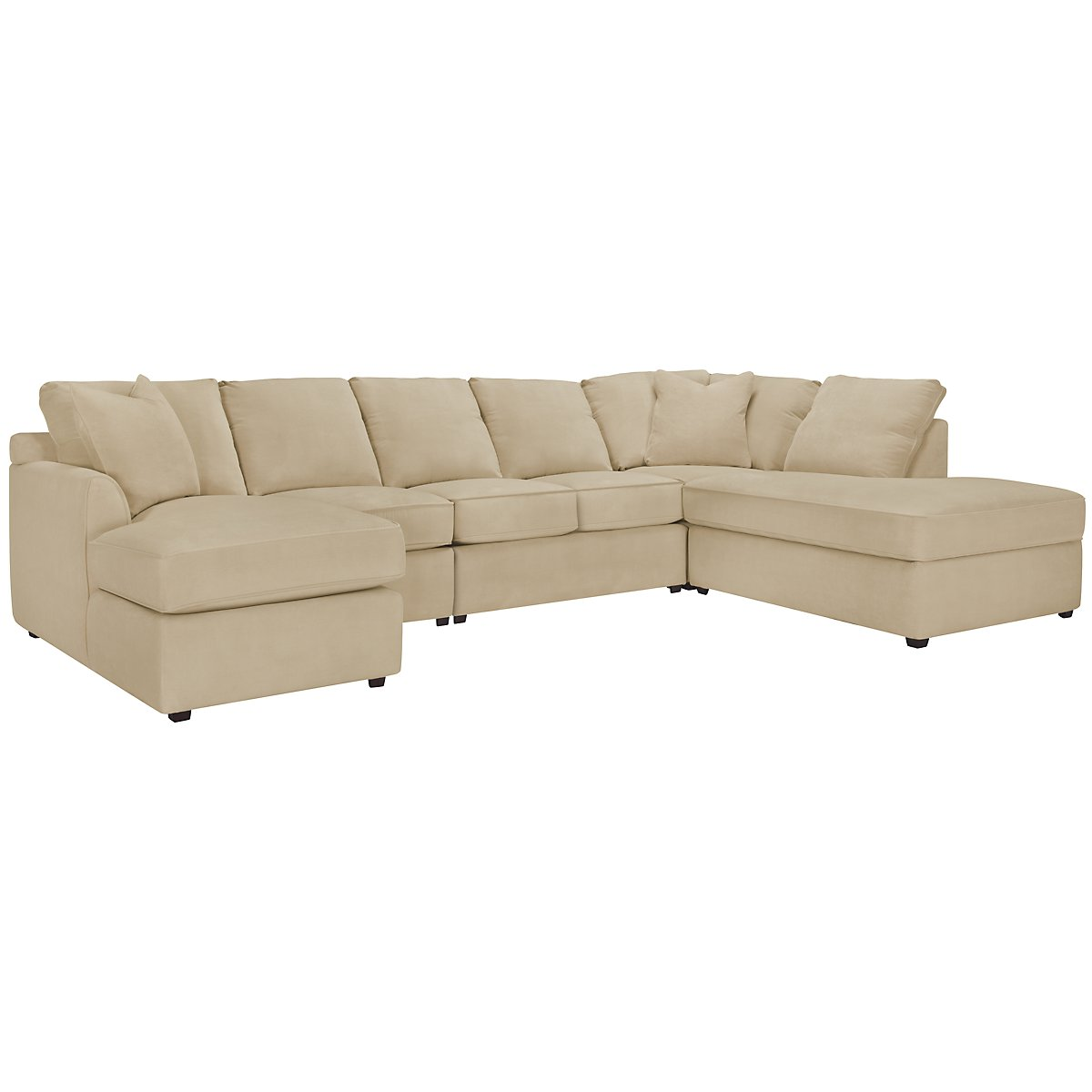 Express3 Light Beige Microfiber Large Right Bumper Sectional