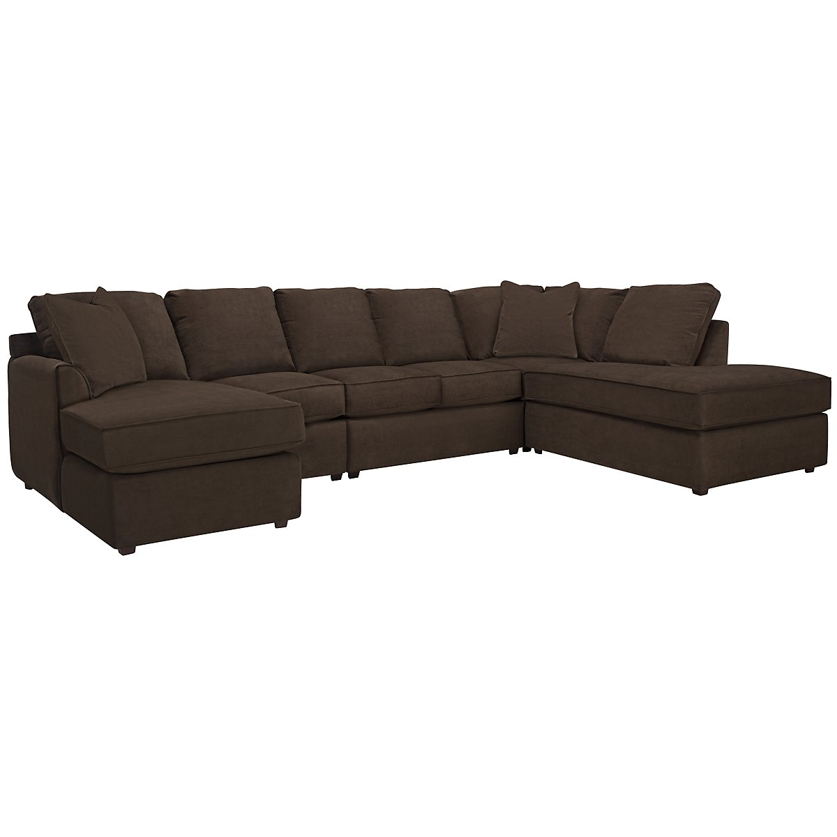 Express3 Dark Brown Microfiber Large Right Bumper Sectional