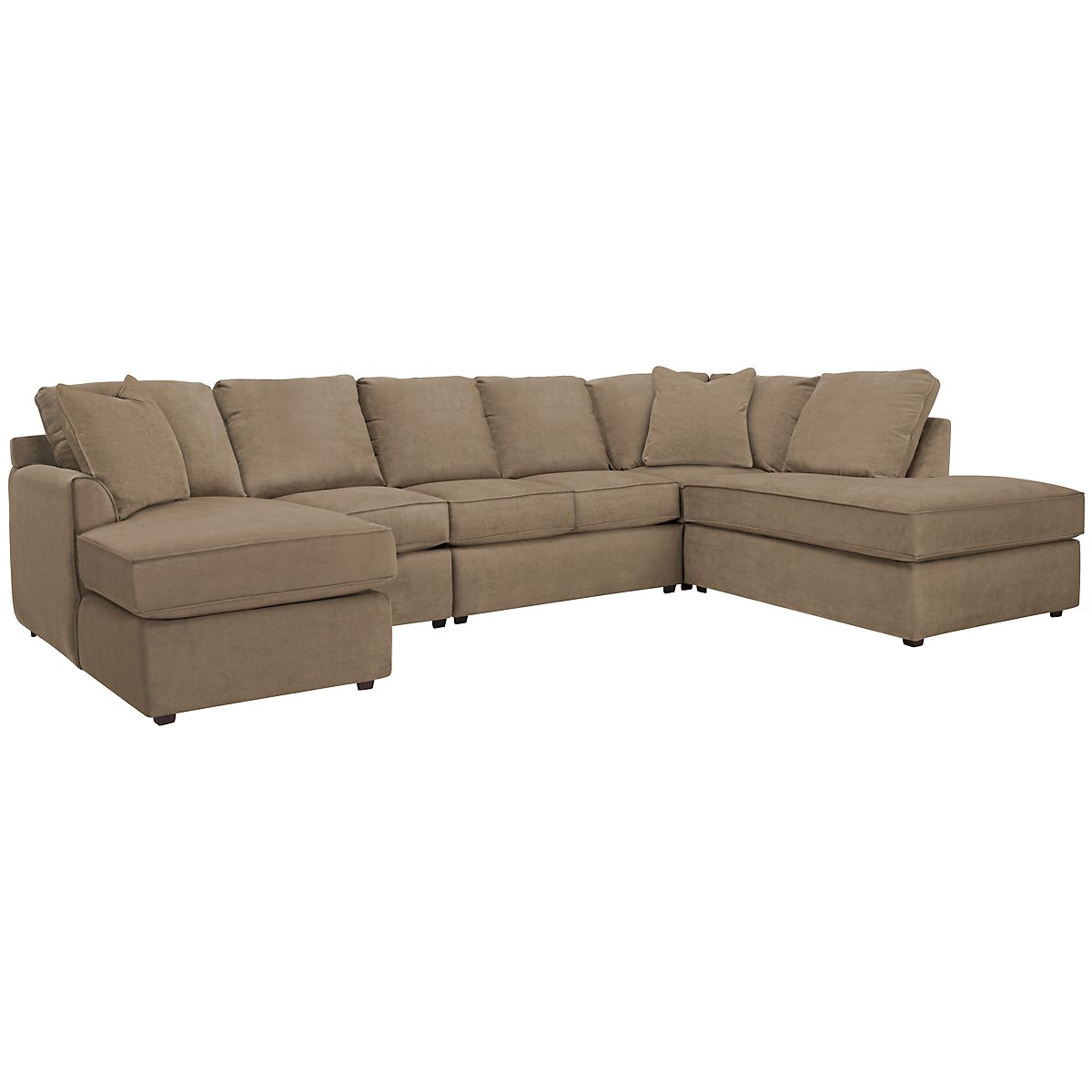 Express3 Light Brown Microfiber Large Right Bumper Sectional
