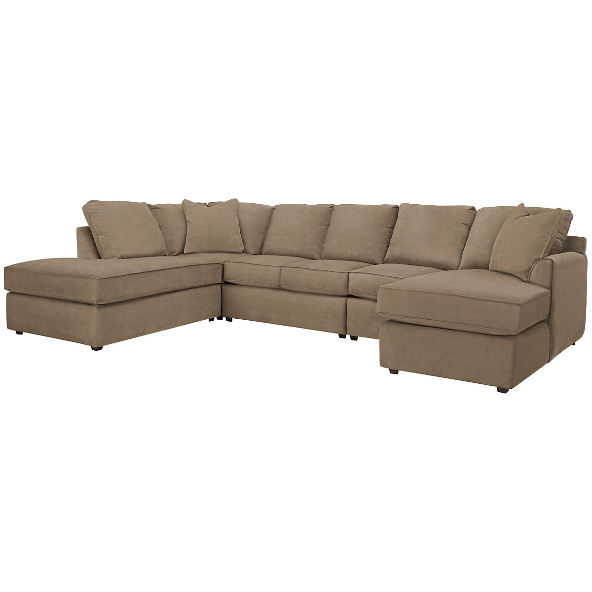 Express3 Light Brown Microfiber Large Left Bumper Sectional