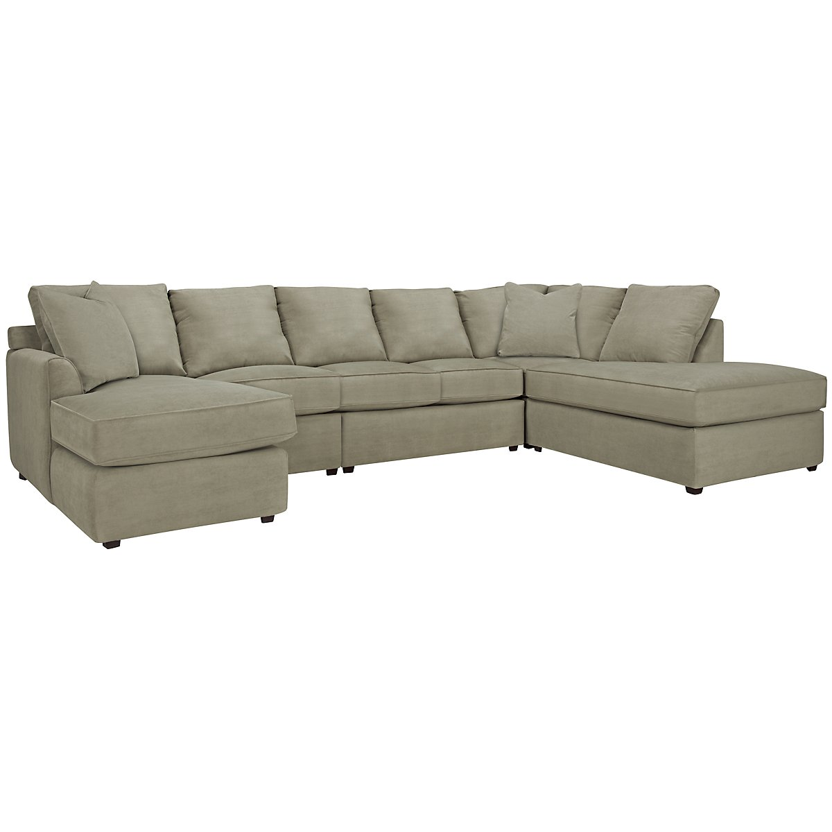 Express3 Light Green Microfiber Large Right Bumper Sectional