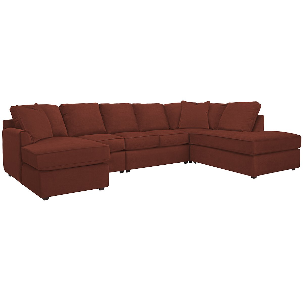 Express3 Red Microfiber Large Right Bumper Sectional