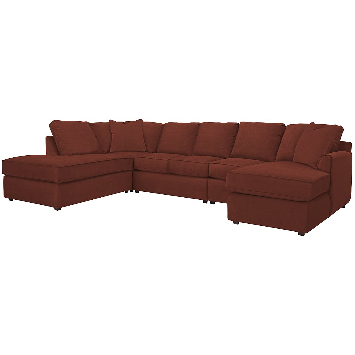 Express3 Red Microfiber Large Left Bumper Sectional