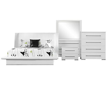 Dimora White Upholstered Platform Bedroom Package