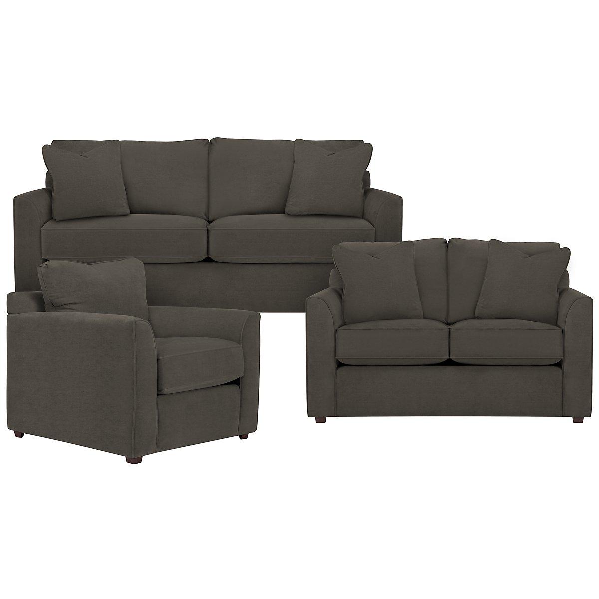 Express3 Dark Gray Microfiber Living Room
