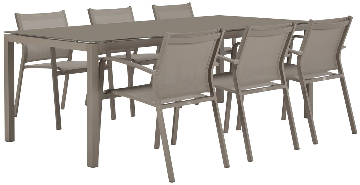 "Lisbon Khaki 86"" Rectangular Table & 4 Chairs"