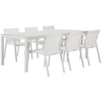 "Lisbon White 86"" Rectangular Table & 4 Chairs"