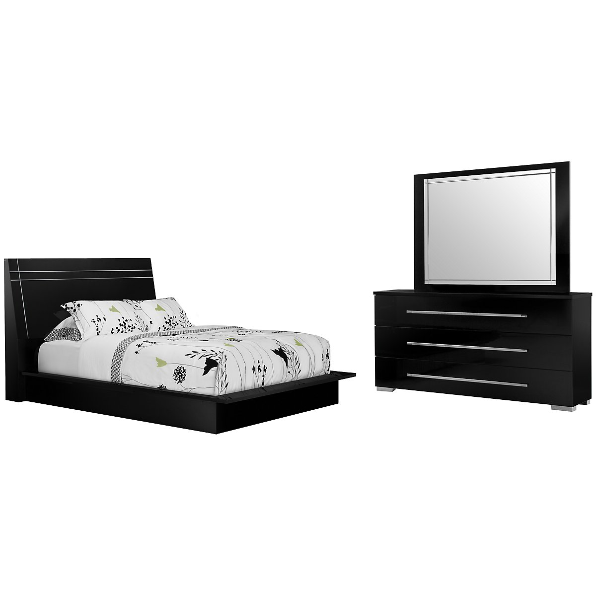 Dimora3 Black Wood Platform Bedroom City Furniture