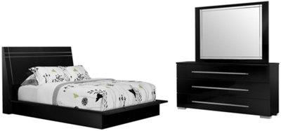 Dimora3 Black Wood Platform Bed
