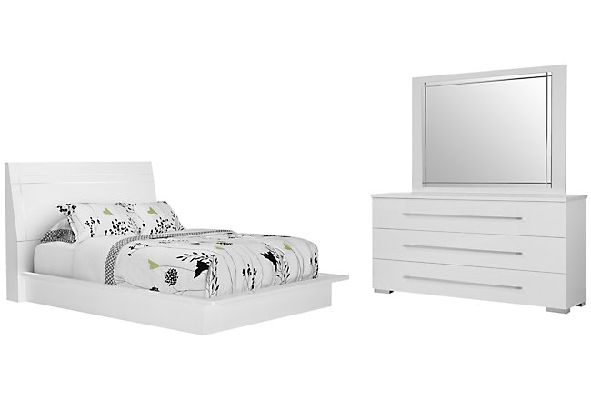 Dimora3 White Wood Platform Bedroom
