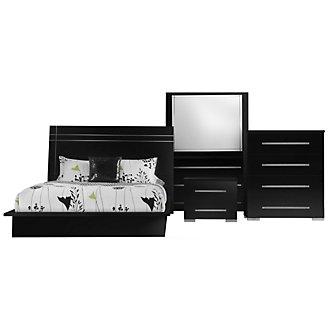 Dimora3 Black Wood Platform Bedroom Package