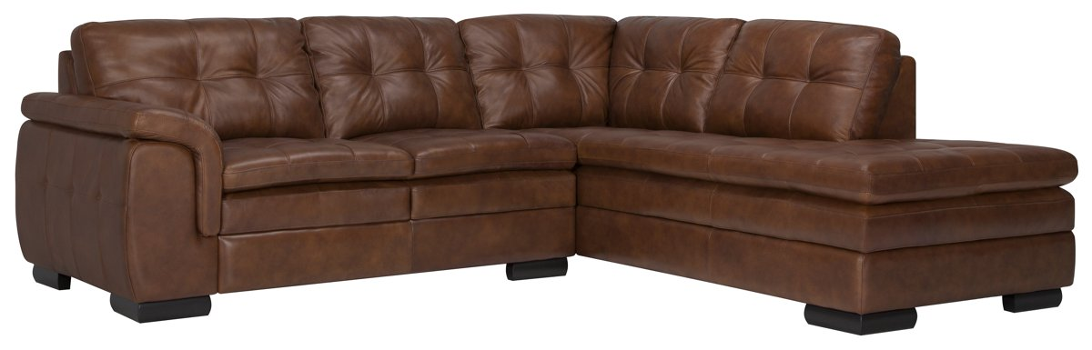 Trevor Medium Brown Leather Small Right Bumper Sectional